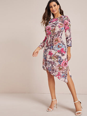 Floral Print Cut Out Back Belted Chiffon Dress