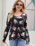 Plus Allover Floral Print Twist Front Tee