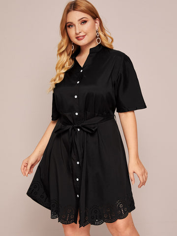 Plus Laser Cut Out Belted Shirt Dress