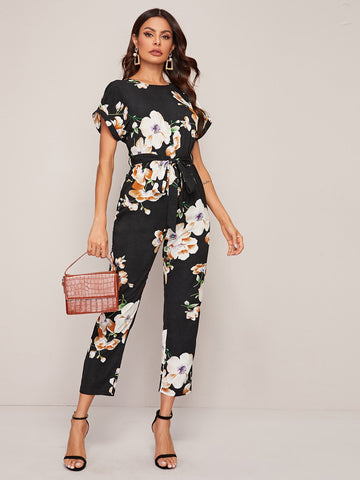 Split Back Cuffed Sleeve Belted Floral Print Jumpsuit