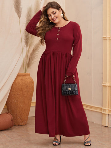 Plus Buttoned Half Placket Solid Dress