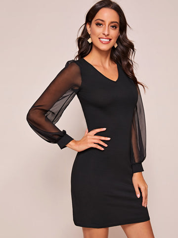 Contrast Mesh Sleeve V-Neck Bodycon Dress