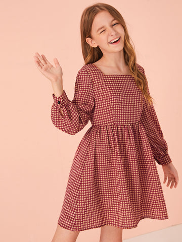Girls Square Neck Houndstooth Smock Dress