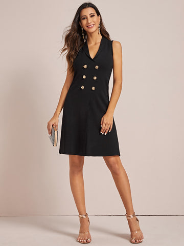 Double Breasted Sleeveless Blazer Dress