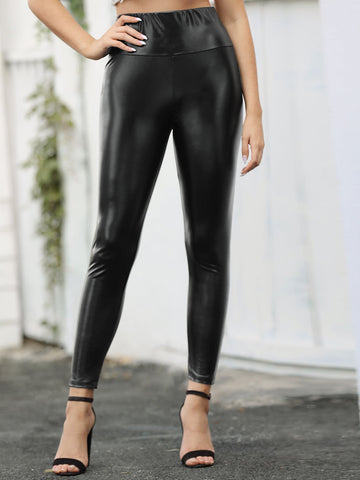 High Waist PU Leather Leggings