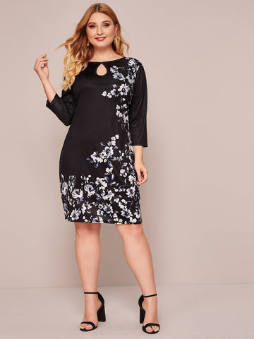 Plus Floral Print Peekaboo Fitted Dress
