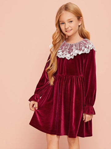 Girls Embroidered Mesh Ruffle Trim Velvet Dress