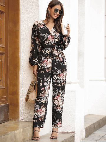 Floral Print Self Tie Bishop Sleeve Jumpsuit