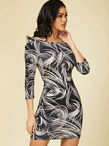 Abstract Print Low Back Bodycon Dress