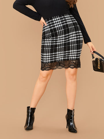 Plus Lace Hem Plaid Bodycon Skirt