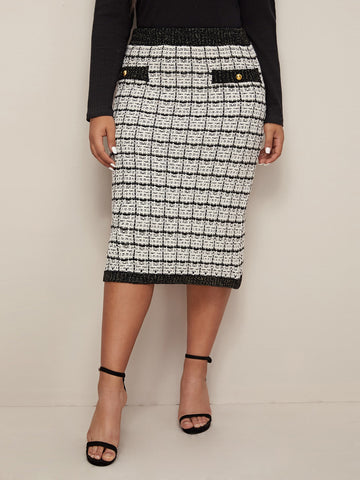 Plus Button Detail Grid Pattern Pencil Sweater Skirt