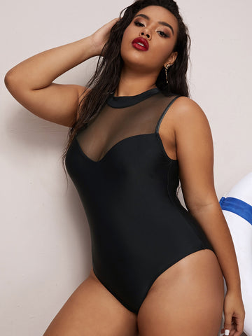 Plus Contrast Mesh One Piece Swimwear