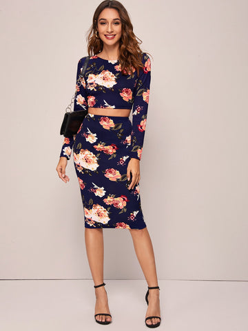 Floral Print Crop Top & Pencil Skirt Set