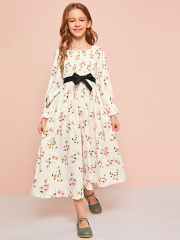 Girls Shirred Bodice Bell Sleeve Belted Floral Dress