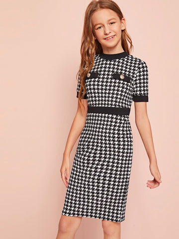 Girls Button Detail Houndstooth Dress