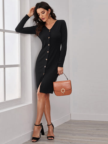 Solid Button Front Ribbed Dress