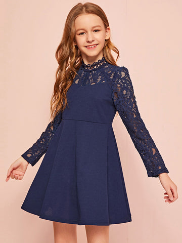 Girls Lace Shoulder Flared Dress