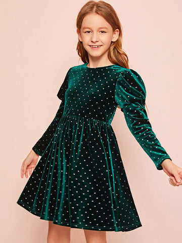 Girls Leg-of-mutton Sleeve Glitter Dot Velvet Dress