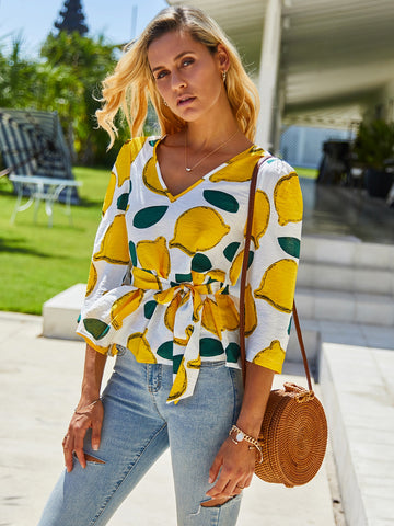 Lemon Print Self Tie V-Neck Blouse