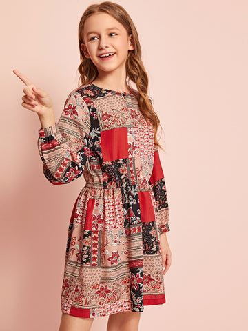 Girls Keyhole Neck Floral Patchwork Print Dress
