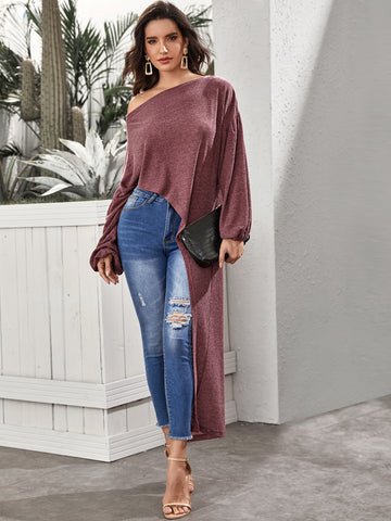 Drop Shoulder Lantern Sleeve Asymmetrical Hem Jumper