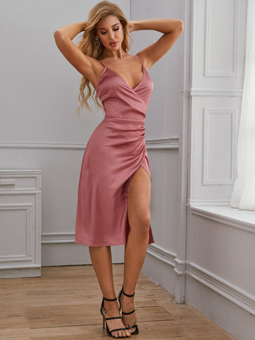 Plunging Neck Ruched Wrap Fitted Dress