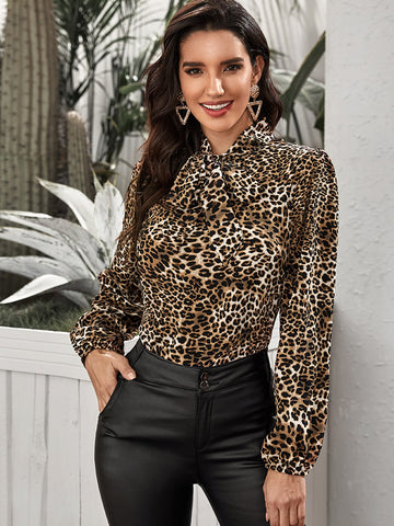 Lantern Sleeve Tie Neck Leopard Top