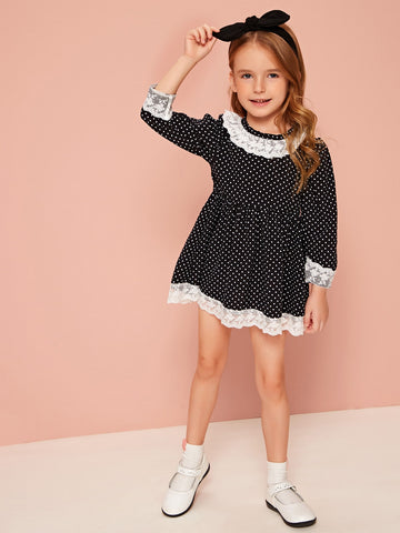 Toddler Girls Contrast Lace Panel Polka Dot Smock Dress