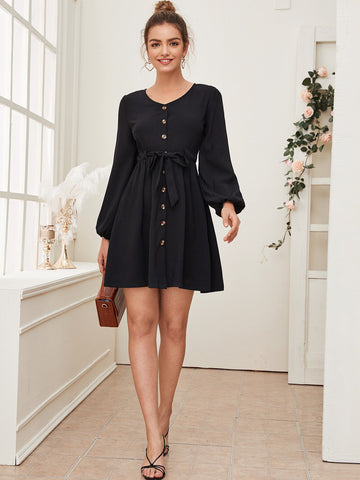 Button Up Flare Hem Bishop Sleeve Dress
