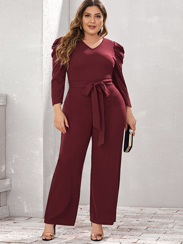 Plus Gigot Sleeve Belted Jumpsuit