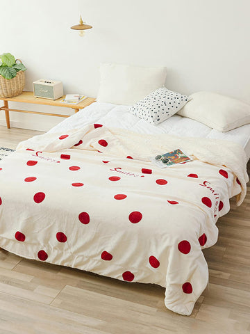 1pc Polka Dot & Letter Graphic Blanket