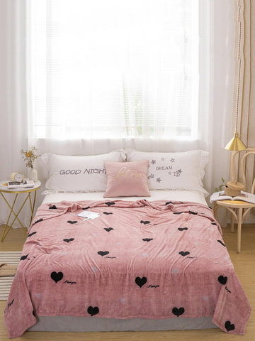 1pc Heart Print Blanket