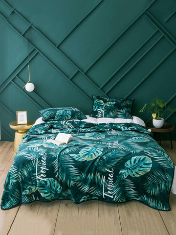 1pc Tropical Leaf Print Blanket