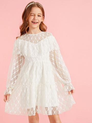 Girls Layered Ruffle Lace A-line Dress
