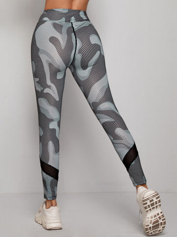Allover Print Wide Band Waist Sports Leggings