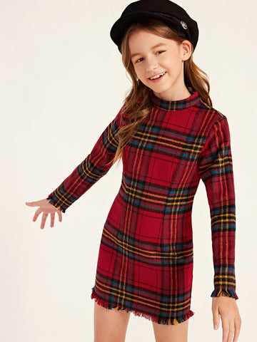 Girls Mock-Neck Raw Trim Plaid Dress