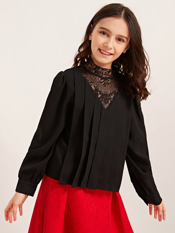 Girls Lace Yoke Pleated Front Blouse