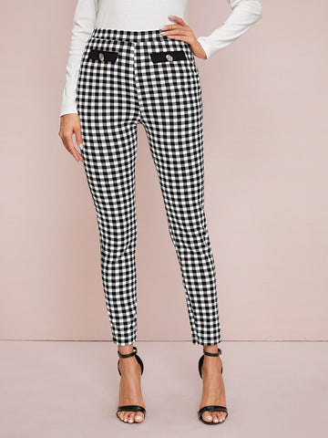 Button Front Gingham Pants