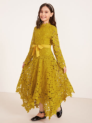 Girls Guipure Lace Hanky Hem Belted Dress