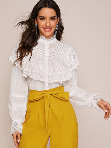Eyelash Lace and Embroidered Mesh Panel Blouse