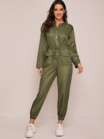 Single Breasted Flap Pocket Front Jumpsuit