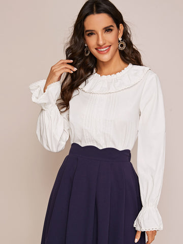 Flounce Sleeve Lace Trim Frilled Neckline Top