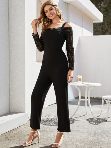 Contrast Lace Cold Shoulder Jumpsuit
