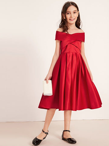 Girls Crisscross Front Off Shoulder Satin Dress