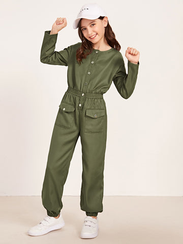 Girls Single Breasted Flap Pocket Jumpsuit