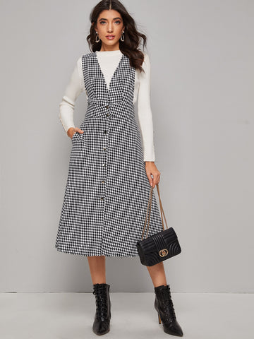 Button Front Raw Hem Houndstooth Tweed Pinafore Dress