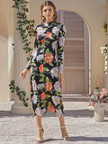 Mock Neck Ruched Front Floral Dress