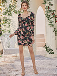 Sweetheart Neck Gigot Sleeve Floral Print Dress