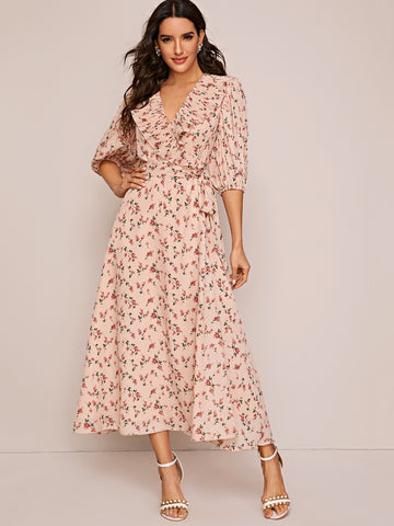 Plisse Ruffle Trim Wrap Belted Floral Print Dress