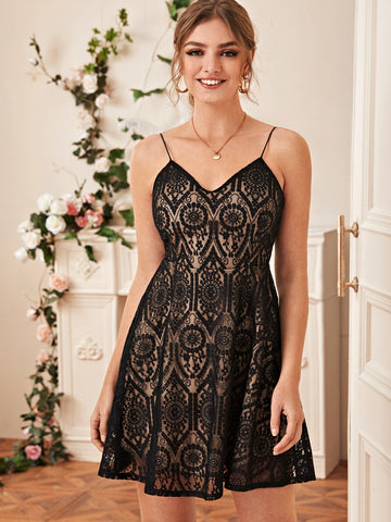Lace Overlay High Waist Cami Dress